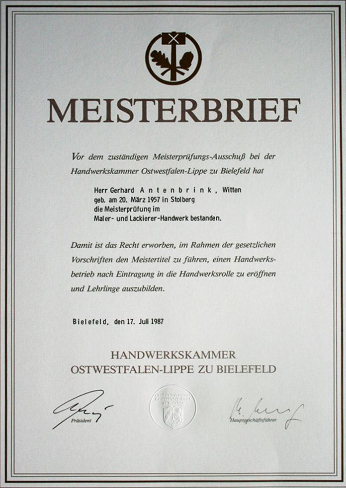 Meisterbrief G. Antenbrink