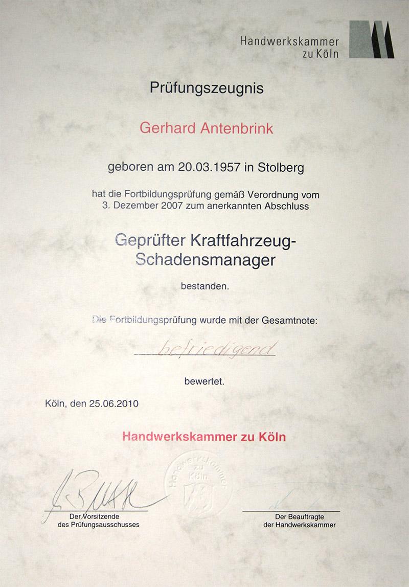 Prüfungszeugnis G. Antenbrink